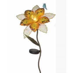 Fleur sur Tige Tuteur à Piquer Solaire avec Feuilles et Oiseau Déco de Jardin en Métal et Boule Coloré à LED 25x25x97cm