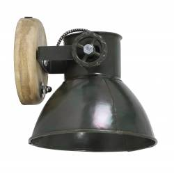 Luminaire Tendance ELAY Applique ou Plafonnier industriel Rampe 1 Spot en Bois et Métal Patiné Vert Armée 18x19x20cm
