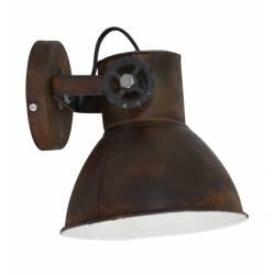 Luminaire Tendance ELAY Applique ou Plafonnier industriel Rampe 1 Spot en Bois et Métal Patiné Rouille 18x19x20cm