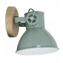 Luminaire Tendance ELAY Applique ou Plafonnier industriel Rampe 1 Spot en Bois et Métal Patiné Vert Industriel 18x19x20cm