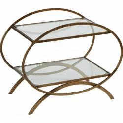 Table de Chevet Signée Hanjel Table de Nuit Console Desserte D'appoint Forme Ovale en Métal Doré 35x50x62cm