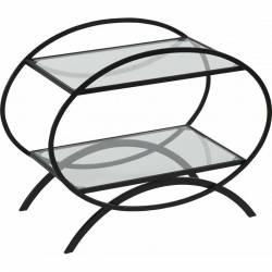 Console d'Appoint Signée Hanjel Table de Nuit Console Desserte D'appoint Forme Ovale en Métal Noir 35x50x62cm