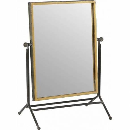 Miroir poser m talo marque athezza glace rectangulaire inclinable en acier verni et laiton for Glace rectangulaire