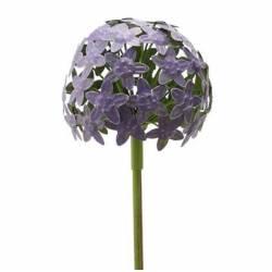 Fleur d'Allium sur Tige Décoration Florale pour Jardin Massif ou Pot de Fleur en Métal Coloré Vert et Violet 16x16x111cm