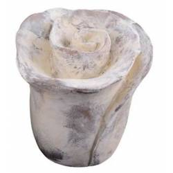 Rose à Poser de Jardin ou Statuette Fleur Décorative en Terre Cuite Patinée Blanche Antique 14x14x14,5cm
