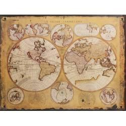 Plaque Murale Décorative de Forme Rectangulaire Cadre Globe Terrestre Mappemonde Vintage en Fer 0,2x25x33cm