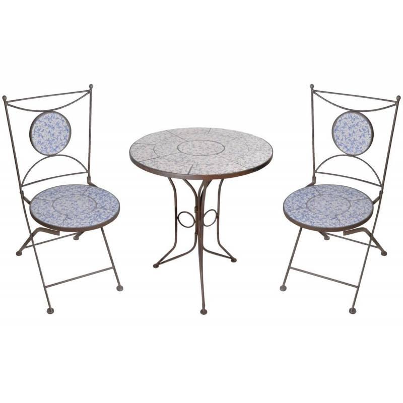 Salon de jardin avec sublime mosa que antique table de bistrot et 2 chaises plia ebay - Salon de jardin style bistrot ...
