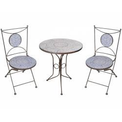 Salon de Jardin avec Sublime Mosaïque Antique Table de Bistrot et 2 Chaises  Pliantes en Acier Marron et Motifs Céramique bleue Salon de Jardin avec ...