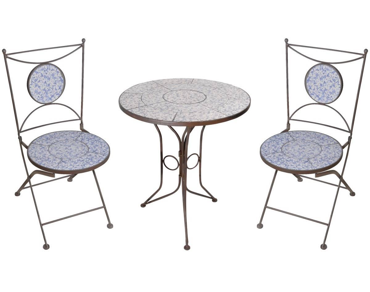 Salon de Jardin avec Sublime Mosaïque Antique Table de Bistrot et 2 ...