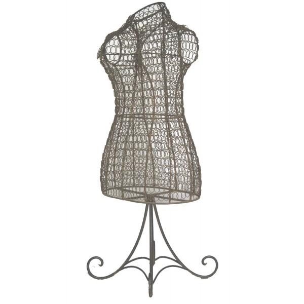 Petit Buste de Couture ou Mannequin Porte Bijoux à Poser en Fer Bouclé Grillagé Patiné Marron 22x33x83cm
