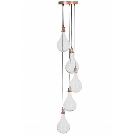 Ensemble de Suspensions QUIRINA Lustre Plafonnier 5 Ampoules Luminaire en Verre et Métal Patiné Cuivre 30x30x190cm