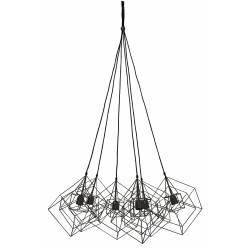 Suspension 6 Lampes KUBINKA Luminaire Eclairage Moderne à Suspendre Géométrique Métal Patiné Noir 85x85x145cm
