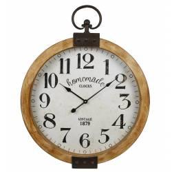 Horloge Murale avec Vitre en Verre et Inscriptions Pendule en Bois vieilli Renfort et Anse en Métal Marron 6,5x50,5x64cm