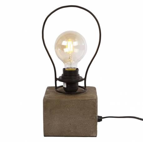 Lampe Luminaire 13x13x32cm Chevet En D'appoint Et Armature Eclairage À Imitation Béton Socle Bureau Poser Métal Noir De nOwP80kX