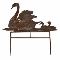 Famille de Cygnes à Piquer en Extérieur ou Intérieur Décoration de Jardin Silhouette Animal en Métal Patiné Marron 0,5x28x50cm