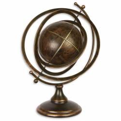 Grande Mappemonde Globe Terrestre Décoratif Rotatif Planisphère sur Socle Ronde en Métal et Cuir Marron Bronze 37x37x50cm