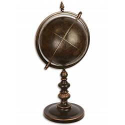 Mappemonde Géante Globe Terrestre Décoratif Rotatif Planisphère sur socle ronde en Métal et Cuir Marron Bronze 35x35x75cm