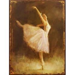 Plaque Murale Décorative de Forme Rectangulaire Cadre Danseuse Etoile Classique Vintage en Fer 0,2x25x33cm
