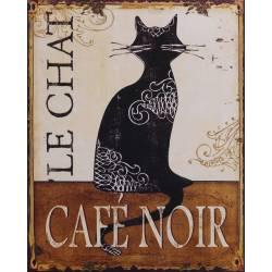 """Plaque Cadre Mural Rectangulaire Motif Chat et Inscription """"LE CHAT CAFE NOIR"""" en Métal 25x20x0,2cm"""