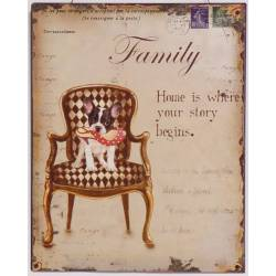 "Plaque Murale Décorative de Forme Rectangulaire ""FAMILY HOME IS WHERE YOUR STORY BEGINS"" Enseigne Vintage en Fer 0,2x25x33cm"