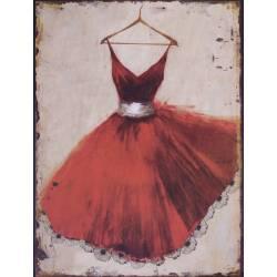Plaque Murale Décorative de Forme Rectangulaire Cadre Robe de Ballerine Rouge Vintage en Fer 0,2x25x33cm