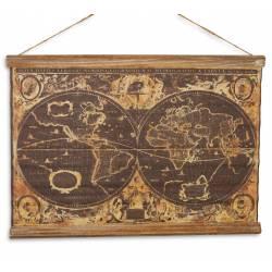 Toile Murale Tendue Représentant une Mappemonde Vintage Parchemin Carte Globe Terrestre en Bois et Tissu 1,8x43x60cm