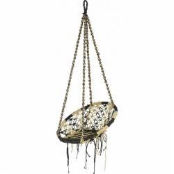 Fauteuil Suspendu Coton Blanc et Noir Marque Marque Hanjel Siège à Suspendre Chaise Hamac Balancelle 76x76x170cm