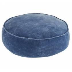 Pouf Vendôme Grand Coussin Rond en Velours Marque Hanjel Assise d'Appoint de Salon Moderne Couleur Bleu Gitane 20x65x65cm