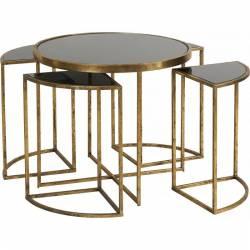 Table Gigogne Modulable Marque Hanjel Consoles d'Appoint Bout de Canapé 5 Pièces en Métal Doré et Verre Noir 42x42x45cm