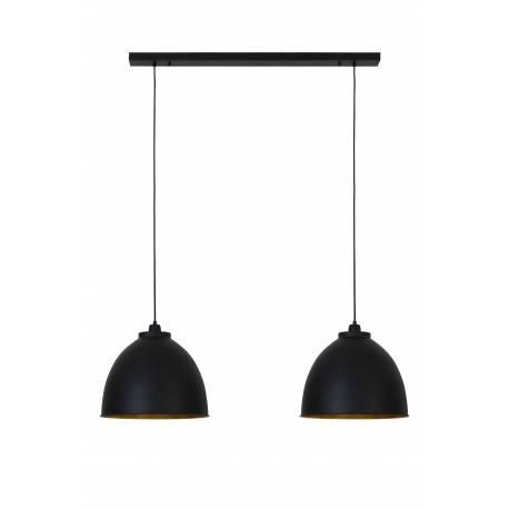 Suspension Tendance Eclairage à Suspendre KYLIE 2 Lumières Plafonnier en métal Patiné Noir et Or 32x41x120cm