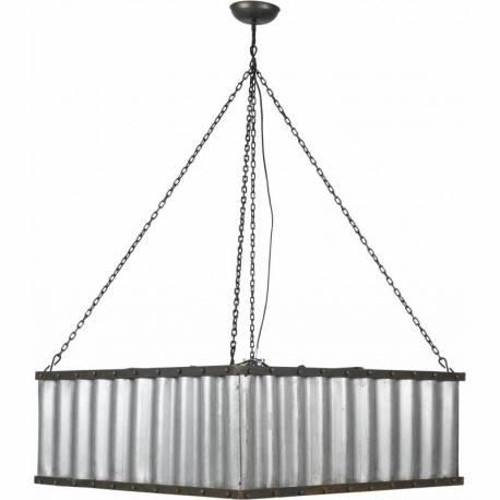Grande Suspension Carrée INDUS Luminaire à Suspendre Tendance Marque Athezza Eclairage en Acier et Tôle Ondulée 77x77x117cm