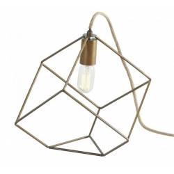 Lampe à Poser TORA de la MArque Athezza Luminaire d'Appoint Eclairage Structure Géométrique en Métal Patiné Laiton 23x23x23cm
