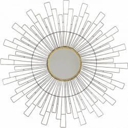 Superbe Miroir Rond Marque Athezza Glace Forme Soleil Décoration Murale en Métal Verni et Doré 4,5x80,5x80,5cm