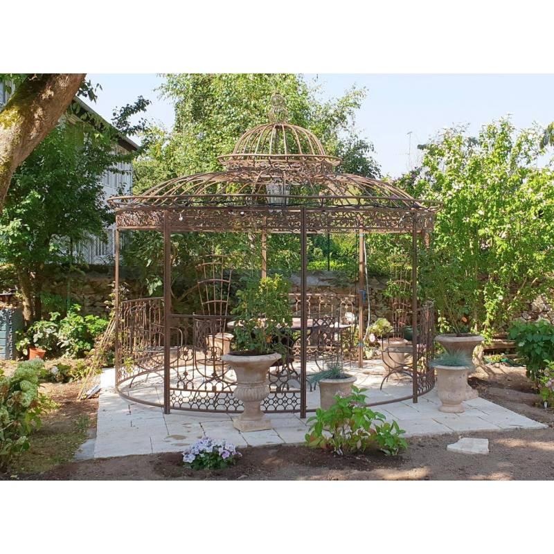 Grande Tonnelle Kiosque de Jardin Pergola Abris Rond Kiosque en Fer ...