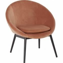 Fauteuil RUVANA Marque Hanjel Siège de Salon Chaise en Pin et Velours Rose Poudré 58,5x69x72cm