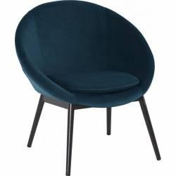Fauteuil RUVANA Marque Hanjel Siège de Salon Chaise en Pin et Velours Bleu Nuit 58,5x69x72cm