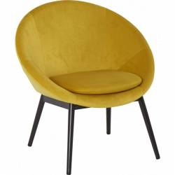 Fauteuil RUVANA Marque Hanjel Siège de Salon Chaise en Pin et Velours Jaune 58,5x69x72cm