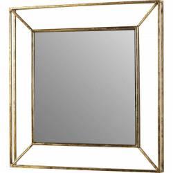 Grand Miroir Rectangulaire ZORBA Marque Athezza Glace Murale Trumeau Rétro Vintage en Métal Doré 6x78x78cm