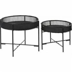 Lot de 2 Tables Basses Marque Hanjel Consoles d'appoint avec Dessertes Plateau en Bambou Patiné Noir 49x60x60cm