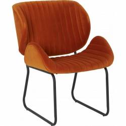 Fauteuil Tendance LUVANA Marque Hanjel Siège de Salon Design Chaise Moderne en Pin et Velours Orange Brûlé 58x65,5x82,5cm
