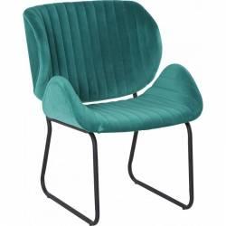 Fauteuil Tendance LUVANA Marque Hanjel Siège de Salon Design Chaise Moderne en Acier et Velours Bleu Turquoise 58x65,5x82,5cm