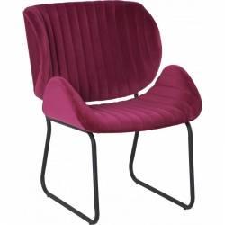 Fauteuil Tendance LUVANA Marque Hanjel Siège de Salon Design Chaise Moderne en Pin et Velours Rouge Opéra 58x65,5x82,5cm