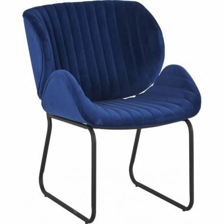 Fauteuil Tendance LUVANA Marque Hanjel Siège de Salon Design Chaise Moderne en Pin et Velours Bleu Nuit 58x65,5x82,5cm