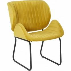 Fauteuil Tendance LUVANA Marque Hanjel Siège de Salon Design Chaise Moderne en Pin et Velours Jaune 58x65,5x82,5cm