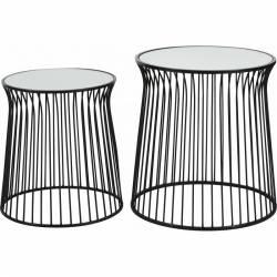 Tables Basses CIRCUS Tables Rondes Tendances Marque Hanjel Guéridon Bout de Canapé Verre et Métal Patiné Noir 61x61x62cm