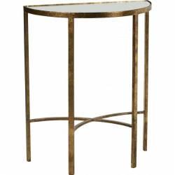 Console Demi Sphère CIRCUS de la Marque Hanjel Guéridon Table d'Appoint Sellette en Métal Doré et Verre 30,5x60,5x74cm