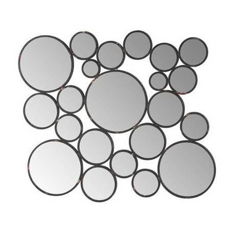 Grand Miroir Bulles Signé Athezza Ensemble de 22 Glaces Rondes Différents diamètres Deco Murale en Métal Noir 3x50x54cm