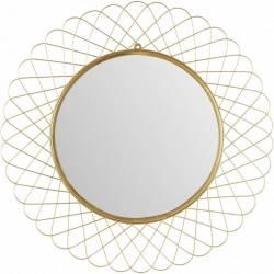 Superbe Miroir ROSA Marque Athezza Glace Reflet Ronde Forme Soleil Décoration Murale en Métal Doré 3x90x90cm