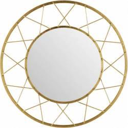 Superbe Miroir Marque Athezza Glace Reflet Ronde Forme Soleil Décoration Murale en Métal Doré 5x91x91cm