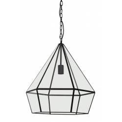 Suspension Design HIDAYA Luminaire Graphique Tendance Eclairage Forme Géométrique en Verre et Métal Noir 44x44x50cm
